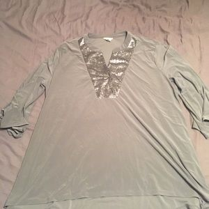 Cato Long Grey Stretchy Blouse